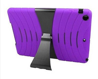 NEWEST Black Hybrid Silicone Hard Stand Cover Case For iPad Mini 2 with stand Made In China