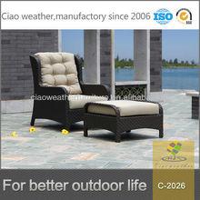 High Back Patio Aluminum PE Rattan Garden Chair Footstool