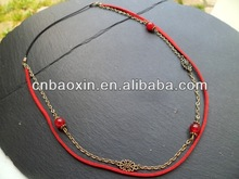 Custom European Style Red Velvet Fabric Hair Bands Elastic With Crystal Metal Chains