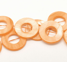 "Orange Circle/ Ring Shell Loose Beads 25mm, 40cm(15-3/4"") long, sold per pack of 2 strands,8years"