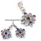 Natural purple faceted Amethyst jewelry rainbow moonstone jewelry
