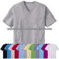 Algodão v- pescoço manga curta basic t- shirt