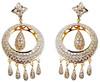 gold flower design cap with pearl diamond earring set,18k gold diamond jewelry set wholesale,Solid 18k gold jewellery wholesal