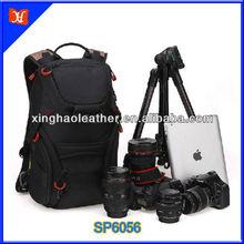Most Fashionable Trend Waterproof Travel Hiking Camera Backpack Bags Black Nylon Large Bag