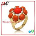 R6885 anillo de coral, anillo de piedra grande, de color rojo coral sintético anillo