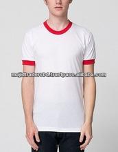 new design 100% cotton contrast color blank long sleeve round neck men t shirt cheap wholesale clothes