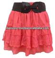 Nueva llegada 2014 damas niveles falda w/bordado y crochet de corte con detalles de la correa