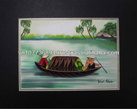 Boat on river picture handmade card