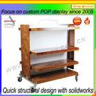 wheeling wood free standing floor display shelf- ec