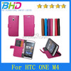 Durable PU Leather Flip Covers for HTC ONE M4 M7 mini