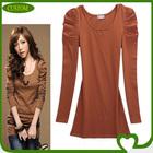 custom the fashionable Korean style girl blank ruffle sleeve t shirt manufacture china