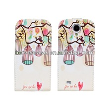 Luxury Leather Case for LG L9 Vertical Magnetic Flip Cases Pouch Cover Skin with printed flower cute bird cage pattern