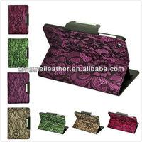 Leather folio lace flower pattern pu leather case for iPad Mini