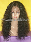 "Premium 22"" natural color deep wave 100% Peruvian human hair full lace wig no mix"