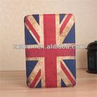 Hot Selling!!! 360 degree rotation retro uk flag leather case for ipad mini