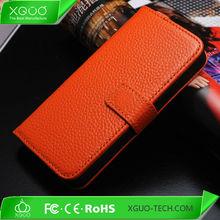 Orange Color Flip Wallet Genuine Leather Case For iphone 5