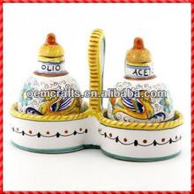 Elegant custom glazed terracotta oil vinegar cruet set