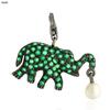 Tsavorite Elephant Silver Charm Pendant Jewelry