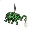 Emerald Gemstone Silver Elephant Pendant Jewelry
