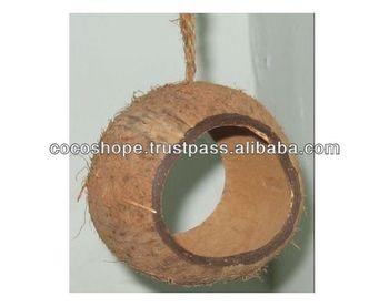 Coconut Shell Tube Bird Feeder