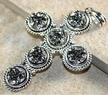 Vintage style Silver Gray Rainbow Titanium Druzy Drusy Cross PENDANT Jewelry