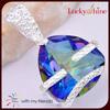 magnetic jewelry pendant top design natural rainbow topaz pendant