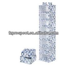 White/Blue Canvas 8-Shelf Hanging Organizer with 2pk Drawers
