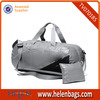 Gray With Black Foldable Duffel Bag With Shoe Compartment