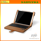 Wholesale portable wireless bluetooth keyboard case for ipad air 5 gold leather stand case with ABS keyboard case