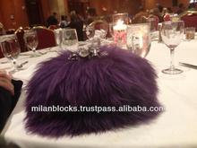 Skull Knucklebox Ring Evening Party Fur Purple Clutch Celebrity Desinger Chain bag