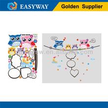 WS-228 Custom cartoon animal owl decor reusable wall art sticker for room/PVC and vinyl material wall art sticker