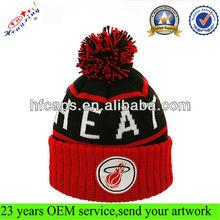 Custom knitted bobble beanie hat/embroidered cuffed beanie hat/custom design men jacquard beanie winter cap