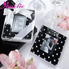 "A08G34 ""Mod Dots"" Black & White Polka-Dot Glass Photo Coasters"