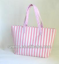 OEM welcomed 2014 new design canvas handle bag wholesale stripe bag