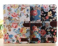 Fancy flower wallet leather case pouch for ipad mini 2