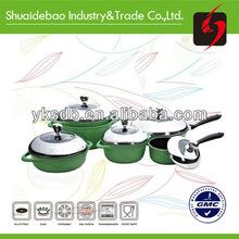 Non stick green enamel cast iron cookware