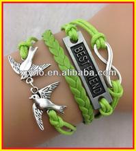 2014 hot sale ) 3 pcs double bird infinity and best friend bracelet in silver tone,green wrap pu leather bracelet handmade jewel