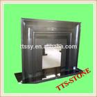 Black granite fireplace hearth