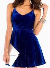 Royal Blue Velvet Dress for Women