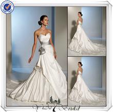 Jj3462 querida sereia cetim branco e vestido de casamento de prata
