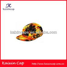 OEM Custom Wholesale 5 Panel Cap/Hat Custom Logo Sunshine And Coconut Trees Pattern Cap/Hat Fashion Design