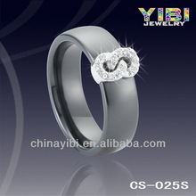 silver jewelry 925 inlay cubic zircon, fashion ceramic silver ring