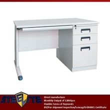 commercial furniture table white gloss office desk/cheap white small laptop pc table with right 3 drawer & sliding keyboard