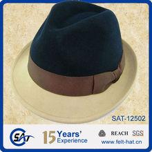 100% wool black and yellow fedora hat