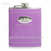 Personalized Fuchsia Stainless Steel Hip Flask 8oz Wedding Gift