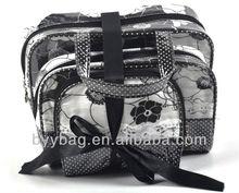 Dot Pattern Black Cosmetic Bag Rose flower bags