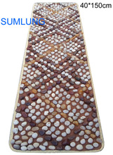 Pebble Foot Massage Mat 40*150mm Plaid Pattern blanket Smooth Colorful Natural Stone