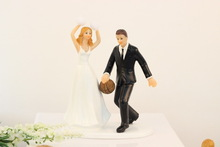 New product Basketball baby Bride and Groom Couple Figurine wedding cake toppers Wedding party & Wedding Decoration