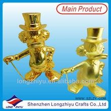 Sculpture donald duck statue brass handicrafts shine gold and matt gold figure and statues
