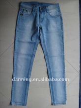 ladies embrodery skinny light blue pants jeans